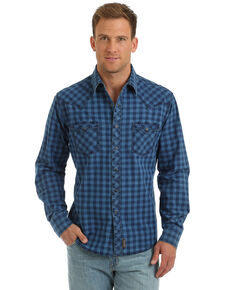 Wrangler Retro Men's Blue Check Plaid Long Sleeve Western Shirt - Tall , Blue, hi-res