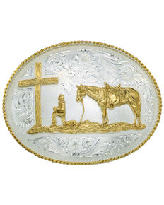 Montana Silversmiths Men's Christian Cowboy Belt Buckle, Silver, hi-res