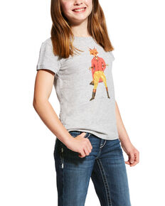 Ariat Girls' Fox Hunter Graphic Tee , Heather Grey, hi-res