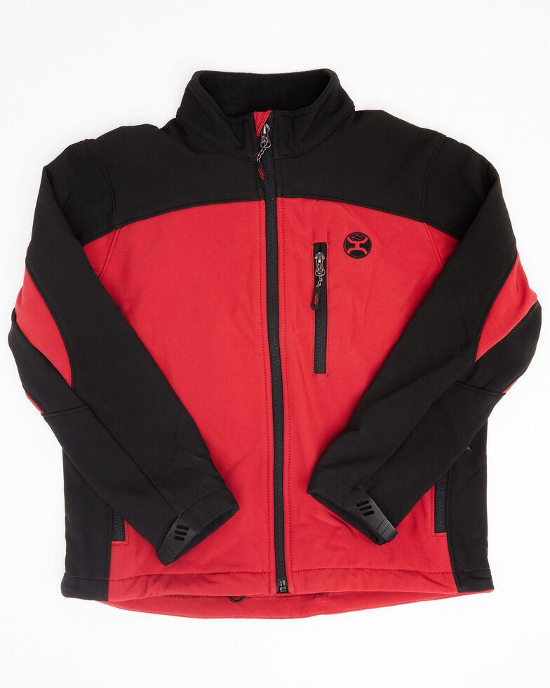 HOOey Boys' Red Color Blocked Logo Zip-Up Softshell Jacket , Red, hi-res