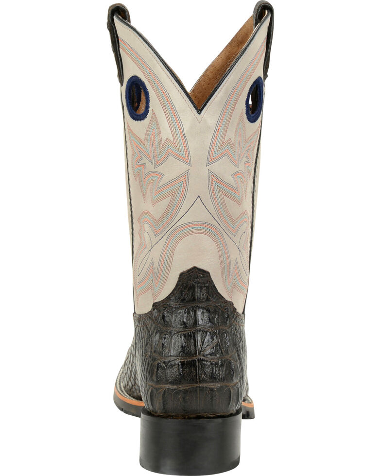 "Double H Men's 12"" Caiman Print Steel Toe Western Boots, Brown, hi-res"