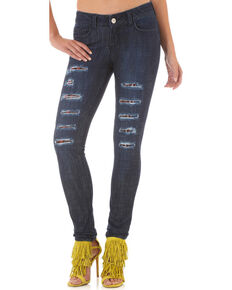 Wrangler Women's Destructed Dark Skinny Jeans, Indigo, hi-res
