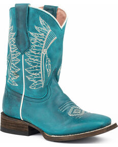 Roper Girls' Chiefs Burnished Blue Turquoise Native Embroidered Cowgirl Boots - Square Toe , Brown, hi-res