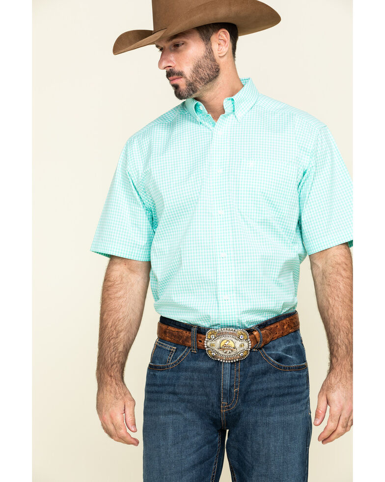 Ariat Men's Mint Rexbury Small Plaid Short Sleeve Western Shirt - Tall , Light Green, hi-res