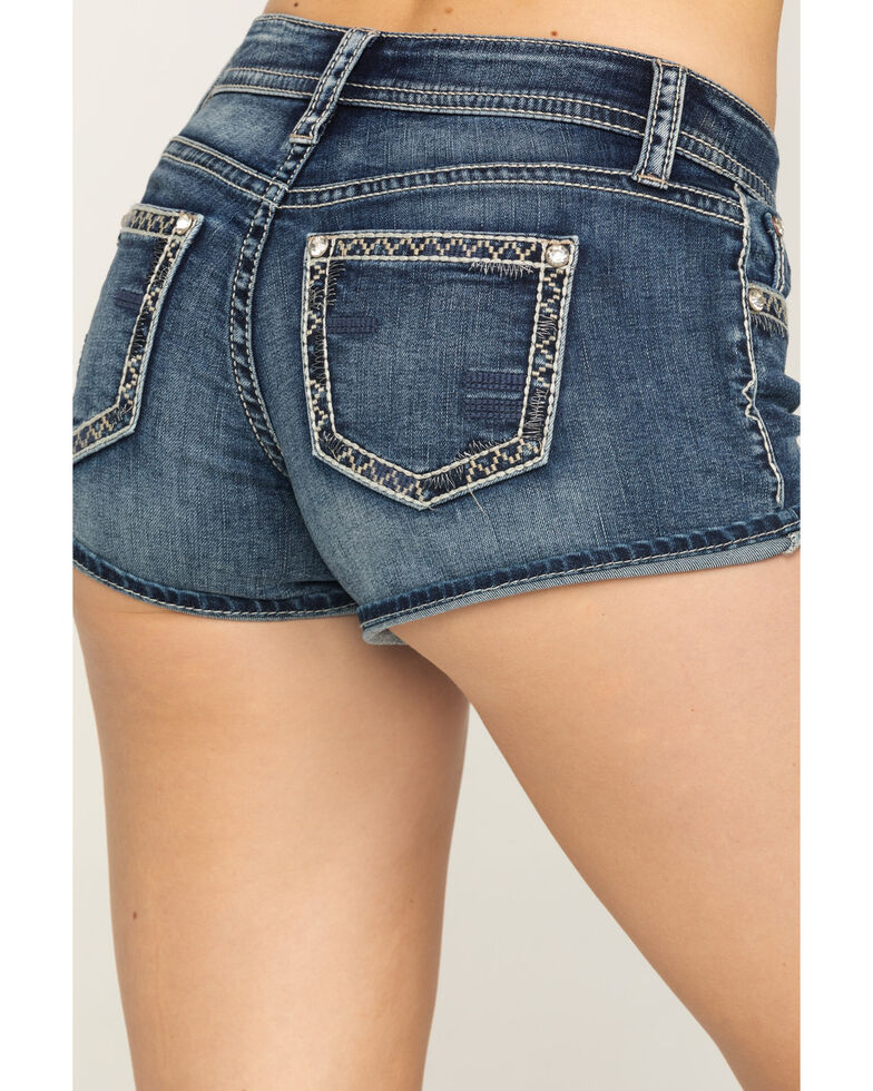Shyanne Women's Dark Wash Baseball Stitch Cutoff Shorts , Blue, hi-res