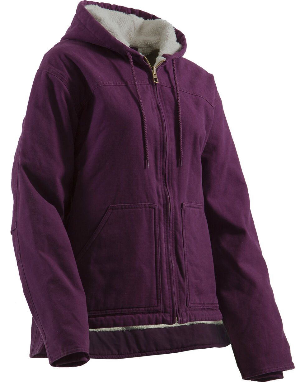 Berne Women's Washed Sherpa-Lined Hooded Coat, Plum, hi-res