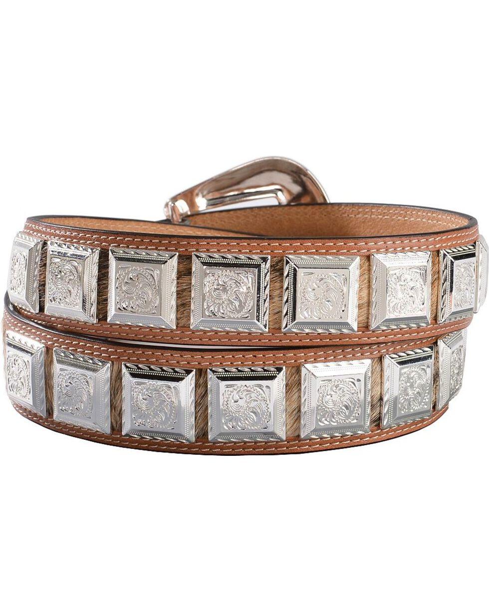 3D Fancy Concho Hair-on-Hide Leather Belt, , hi-res