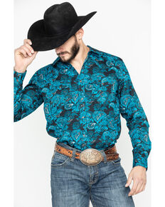 Cody James Men's El Matador Paisley Print Long Sleeve Western Shirt - Tall , Black, hi-res