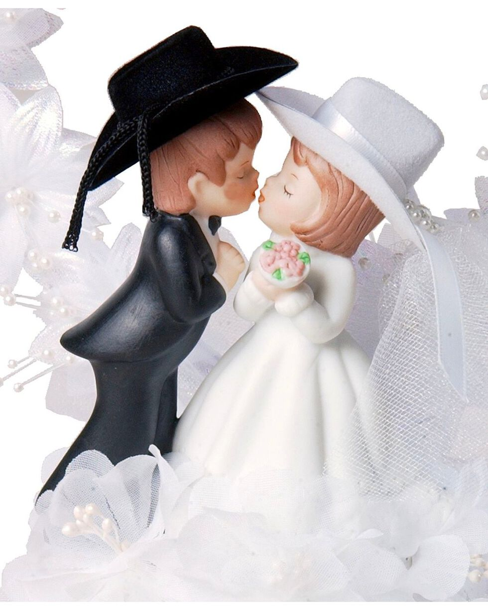 Western Wedding Cake Topper, White, hi-res