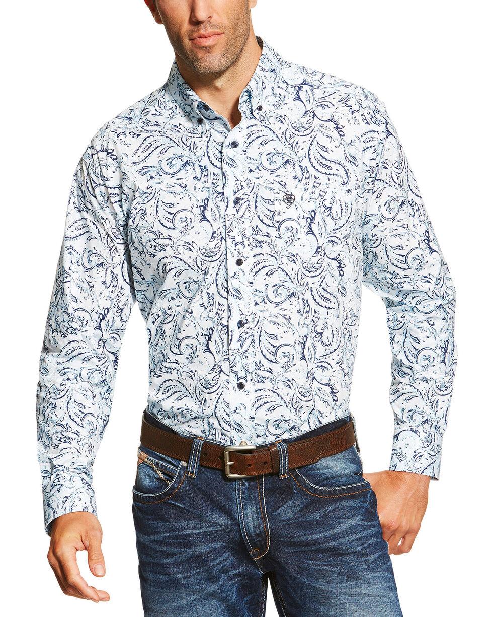 Ariat Men's Floral Pattern Long Sleeve Western Shirt, White, hi-res