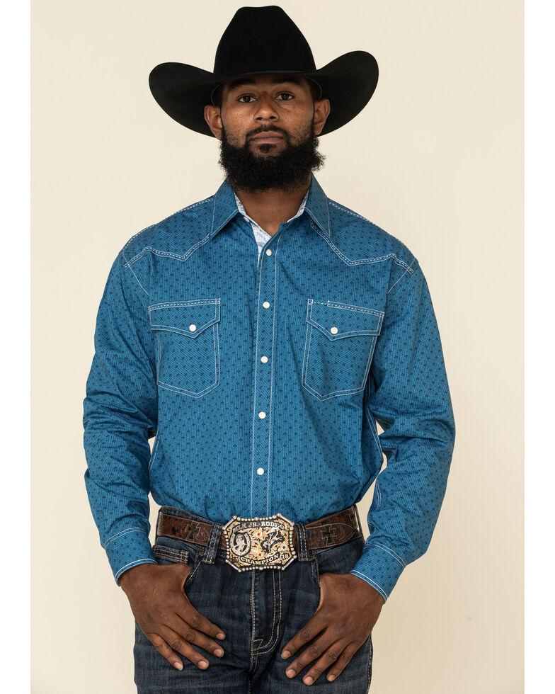 Rough Stock By Panhandle Men's Los Nietos Geo Print Long Sleeve Western Shirt , Blue, hi-res