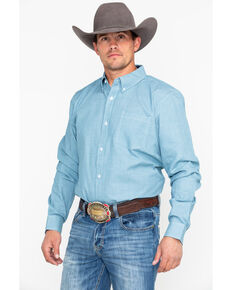 Cody James Core Men's Cross Roads Geo Print Long Sleeve Western Shirt, Turquoise, hi-res
