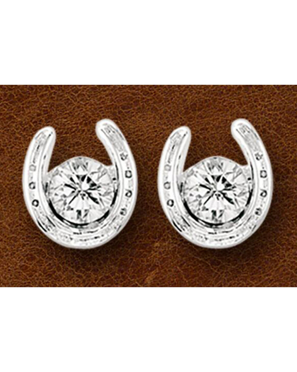 Kelly Herd Sterling Silver Rhinestone Horseshoe Stud Earrings, Silver, hi-res