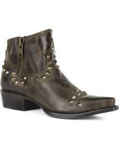 Stetson Women's Brown Shelby Studded Booties - Snip Toe, Brown, hi-res
