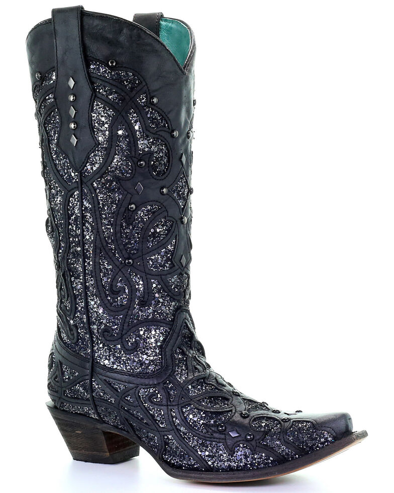 Corral Women S Black Glitter Inlay Western Boots Snip Toe Boot Barn