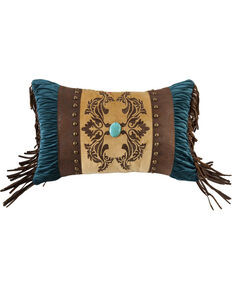HiEnd Accents Faux Leather Decorative Pillow With Jeweled Details , Multi, hi-res