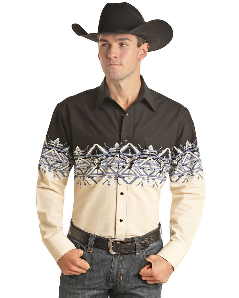 Panhandle Men's Natural Aztec Scenic Border Print Long Sleeve Western Shirt , Natural, hi-res