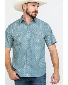 Moonshine Spirit Men's Pale Ale Geo Print Short Sleeve Western Shirt , Teal, hi-res