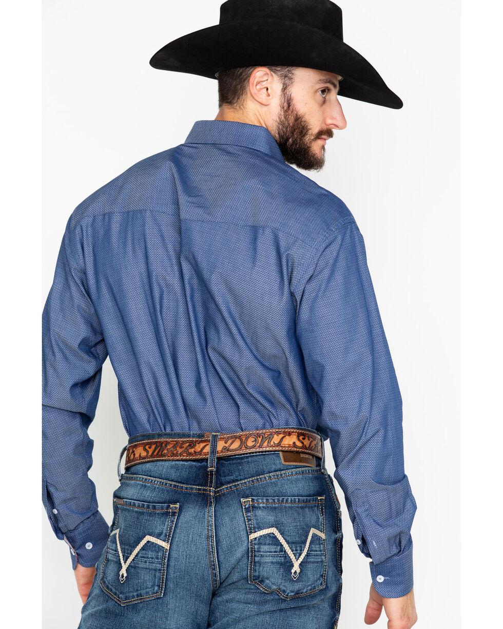 Resistol Men's Bowman Print Long Sleeve Western Shirt , Blue, hi-res
