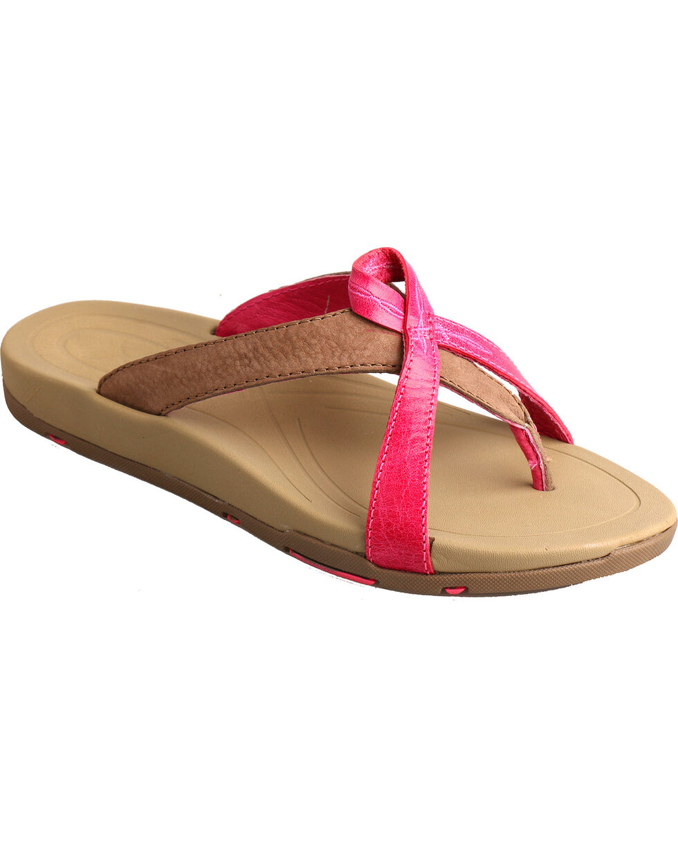 Twisted X Women's Tough Enough to Wear Pink Flip Flops, Pink, hi-res