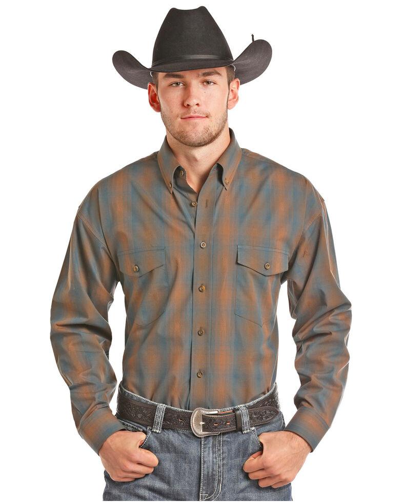 Panhandle Men's Brown Button Down Plaid Shirt, , hi-res
