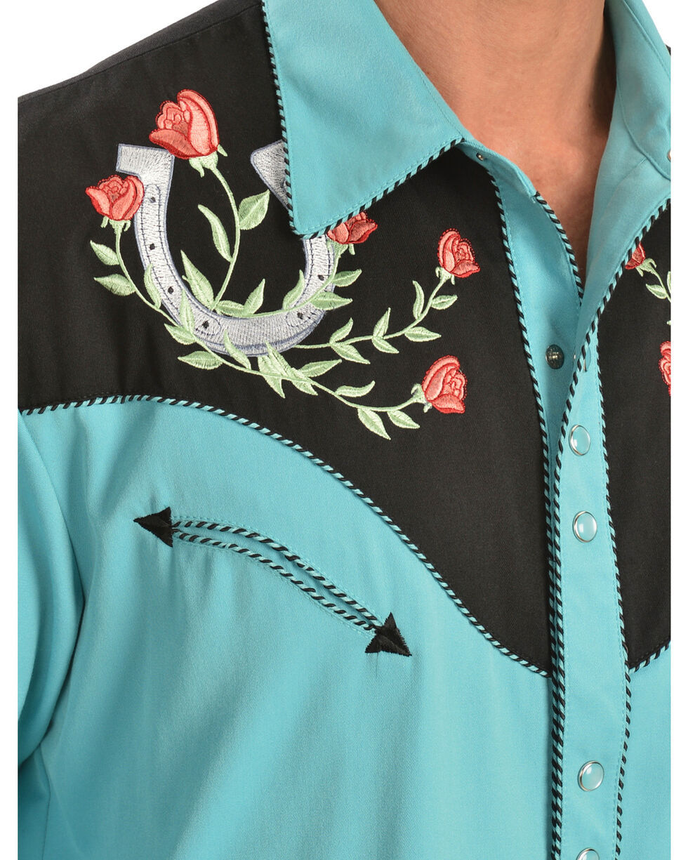 Scully Men's Horseshoe Rose Embroidered Long Sleeve Shirt, Turquoise, hi-res