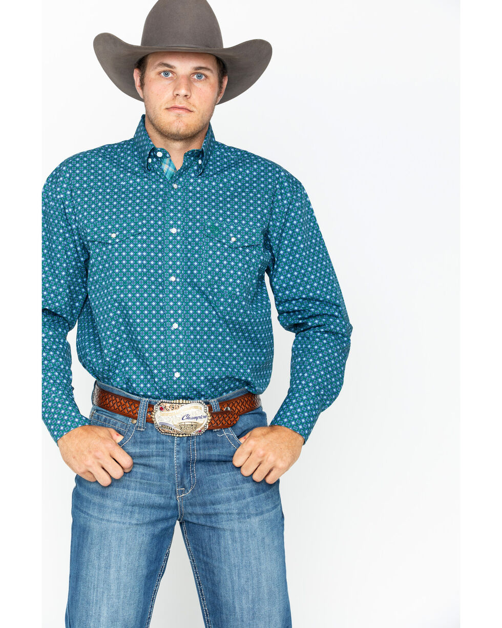 George Strait by Wrangler Men's Diamond Print Long Sleeve Western Shirt , Forest Green, hi-res