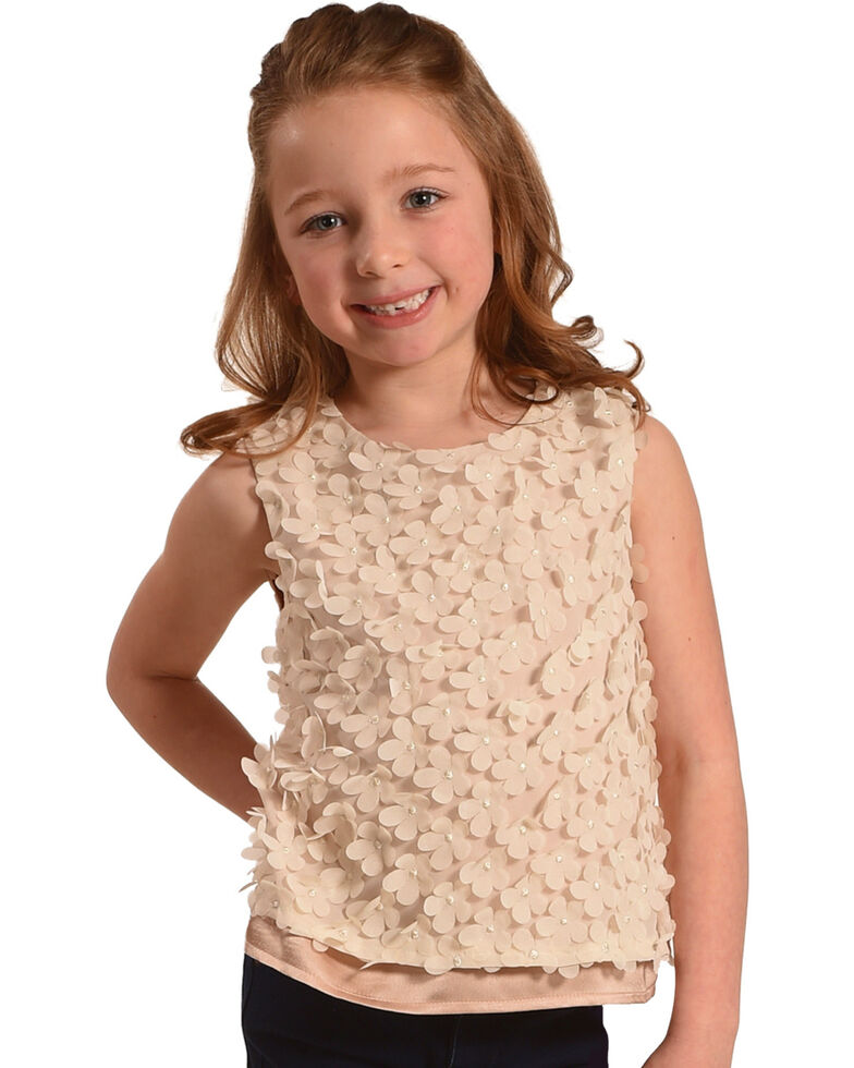 Idol Mind Girls' Cream Pop Floral Sleeveless Shirt, Ivory, hi-res