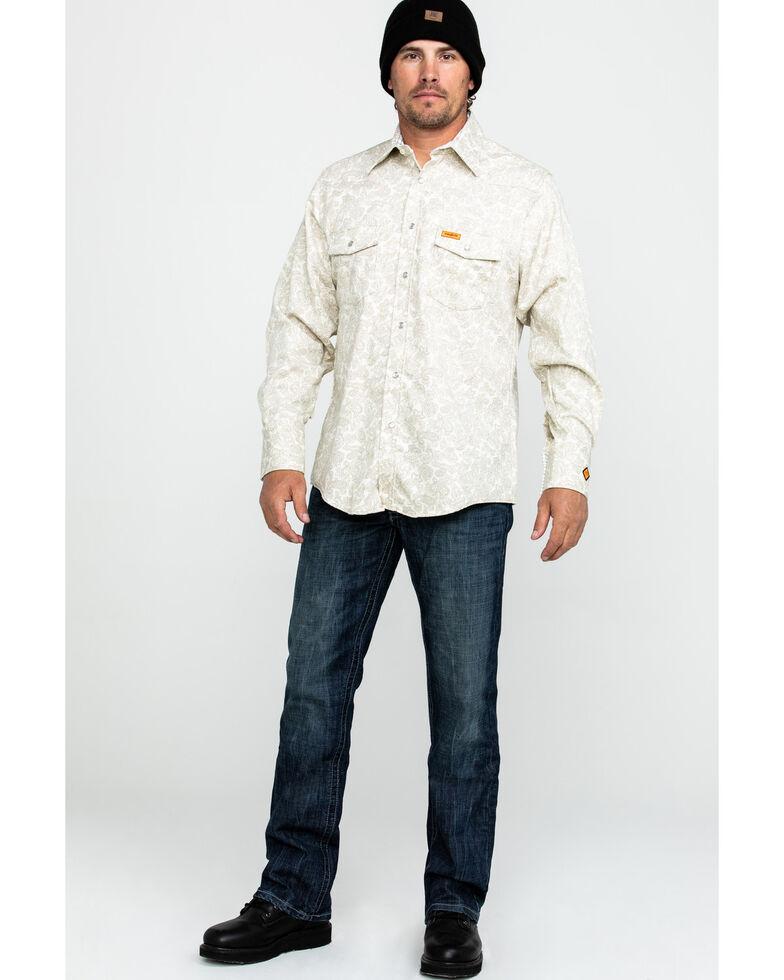 Wrangler 20X Men's FR Paisley Print Long Sleeve Work Shirt - Tall , Tan, hi-res