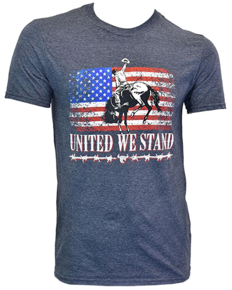 Cowboy Hardware Men's Heather Blue United We Stand Graphic Short Sleeve T-Shirt , Blue, hi-res