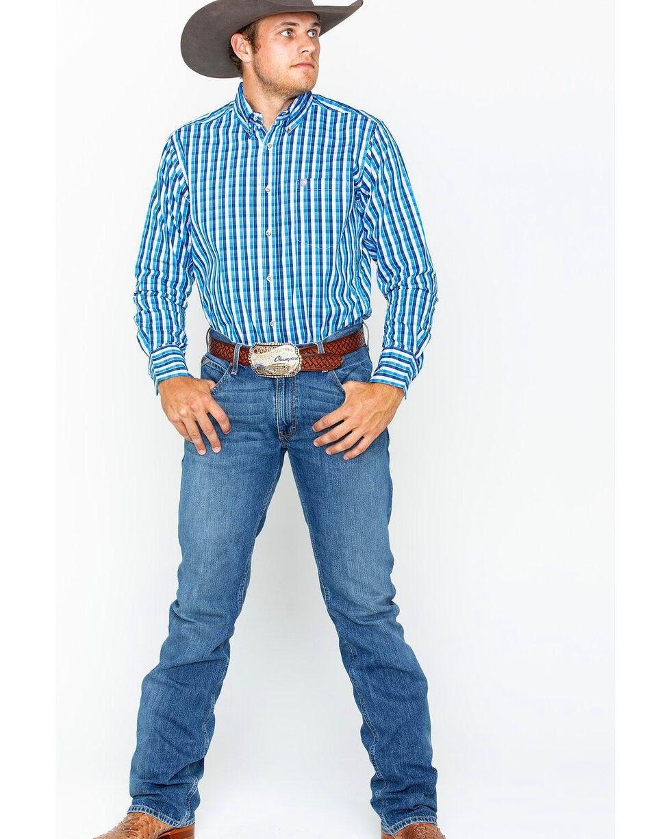 Wrangler Men's Blue Plaid Performance Western Shirt , Blue/white, hi-res