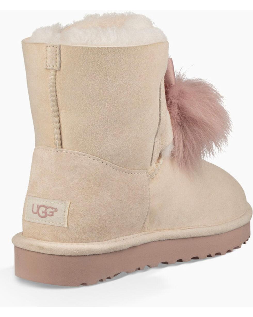 UGG Women's White Gita Short Boots - Round Toe , White, hi-res