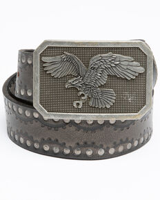 Moonshine Spirit Men's Studded Eagle Belt, Black, hi-res