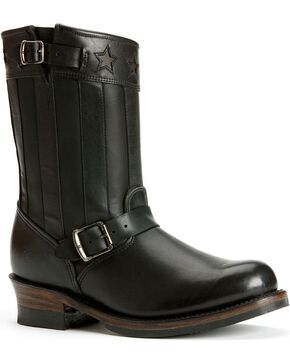 Frye Women's Engineer Americana Short Western Boots, Black, hi-res