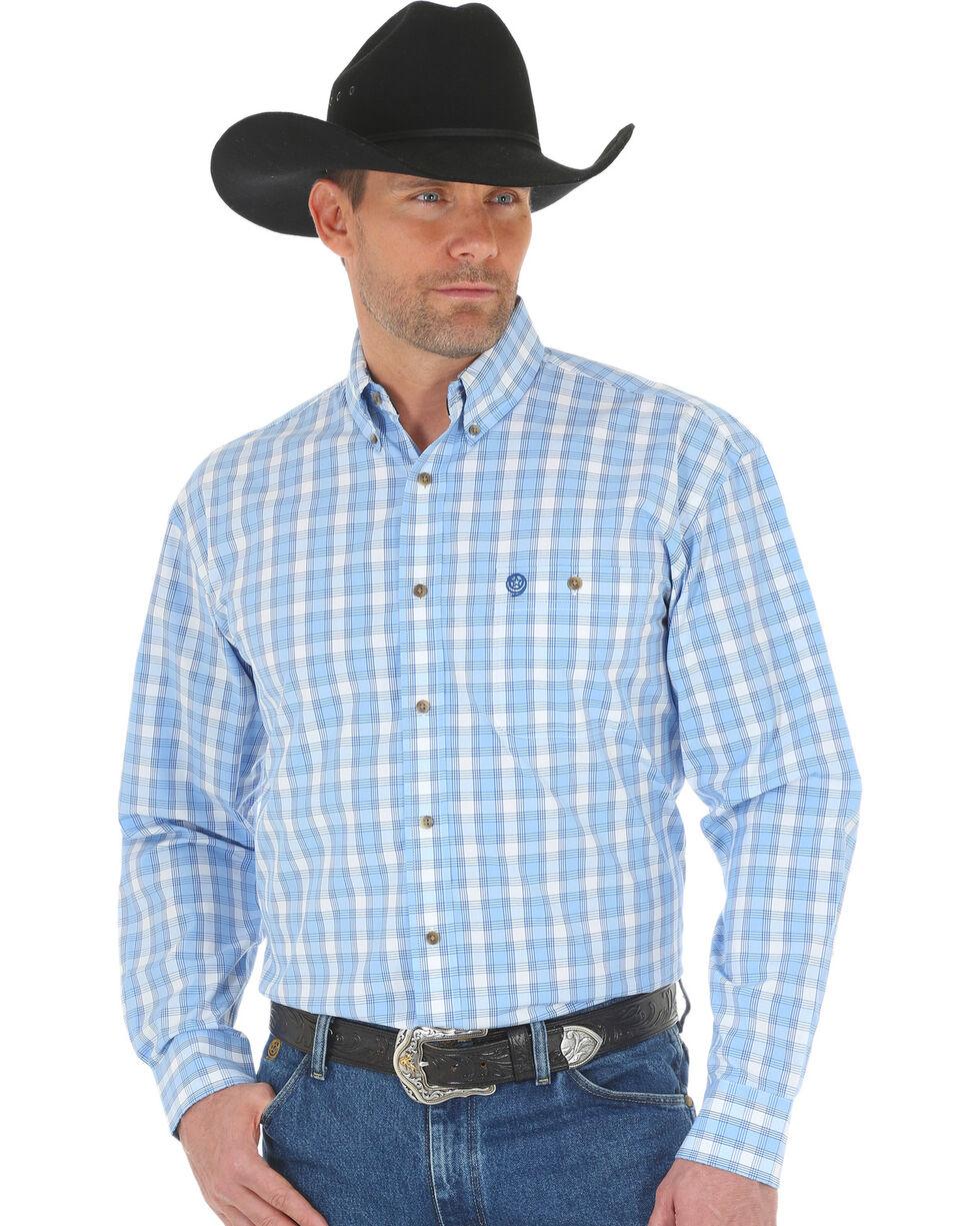 George Strait by Wrangler Men's Blue Poplin Plaid Button Shirt, Blue, hi-res