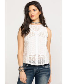 Miss Me Women's Lace Allover Tank Top, White, hi-res