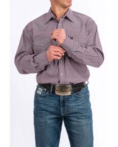 Cinch Men's Purple Diamond Geo Print Snap Long Sleeve Western Shirt , Purple, hi-res
