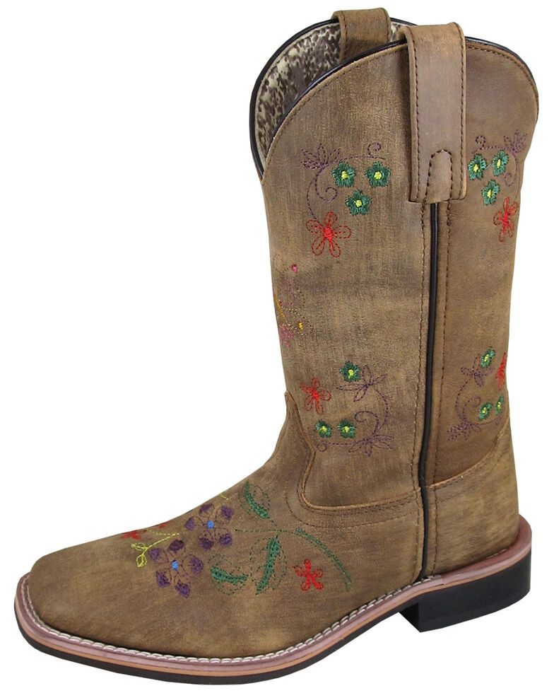 "Smoky Mountain Women's 10"" Floralie Western Boots - Square Toe, Distressed Brown, hi-res"
