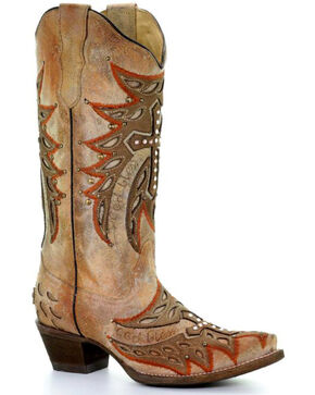 Corral Women's Bone Wing & Cross Cowgirl Boots - Snip Toe, White, hi-res