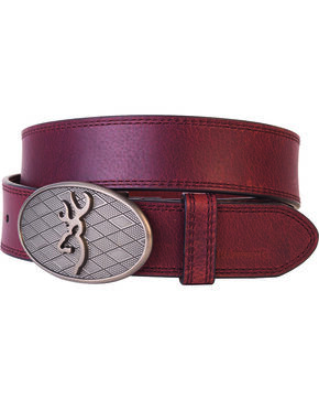 Browning Men's Oval Buckmark Belt, Brown, hi-res