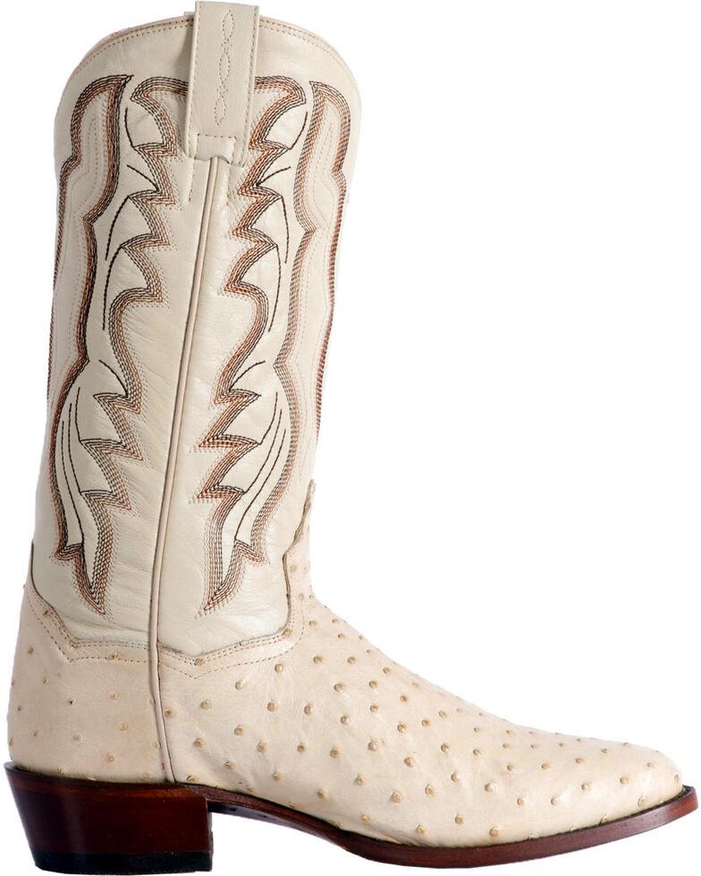 Dan Post Men's White Pershing Full Quill Ostrich Boots - Medium Toe , White, hi-res
