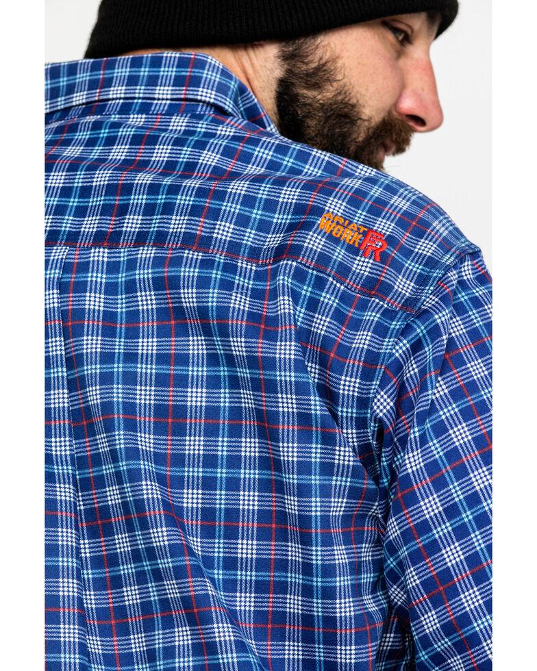 Ariat Men's Collins Blue FR Plaid Button Long Sleeve Work Shirt, Blue, hi-res