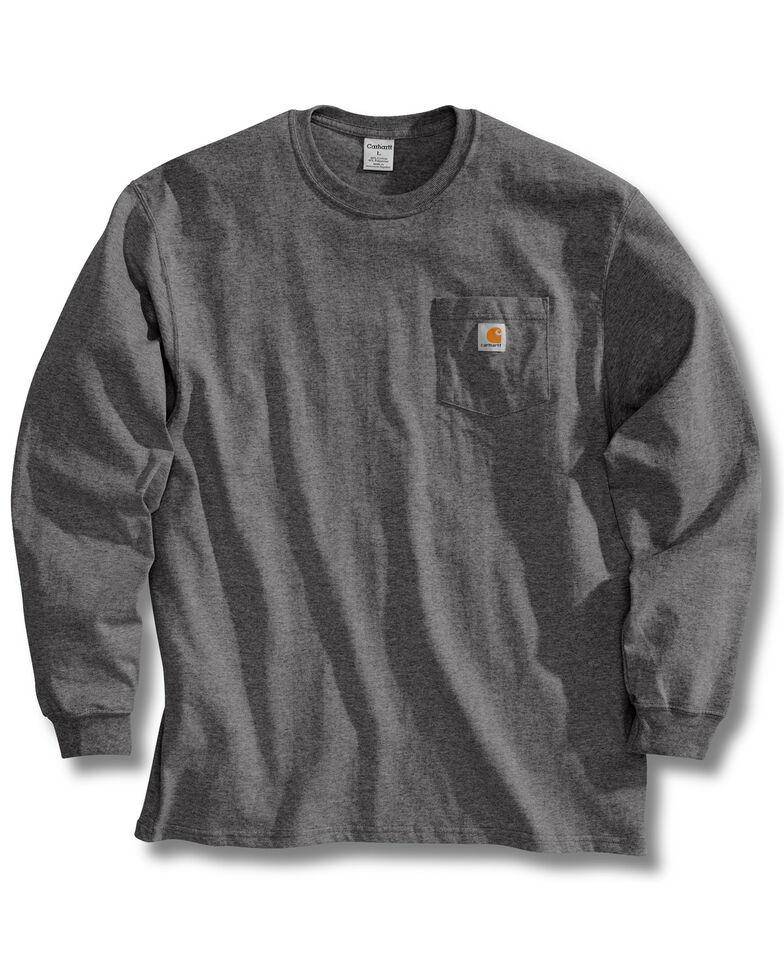 Carhartt Men's Pocket Long Sleeve Work Shirt - Tall, Charcoal Grey, hi-res