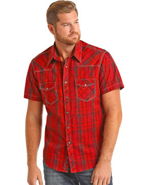 Rock & Roll Cowboy Men's Crinkle Wash Red Plaid Shirt, Red, hi-res