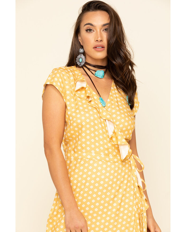 Stetson Women's Yellow Ruffle Wrap Dress , Yellow, hi-res