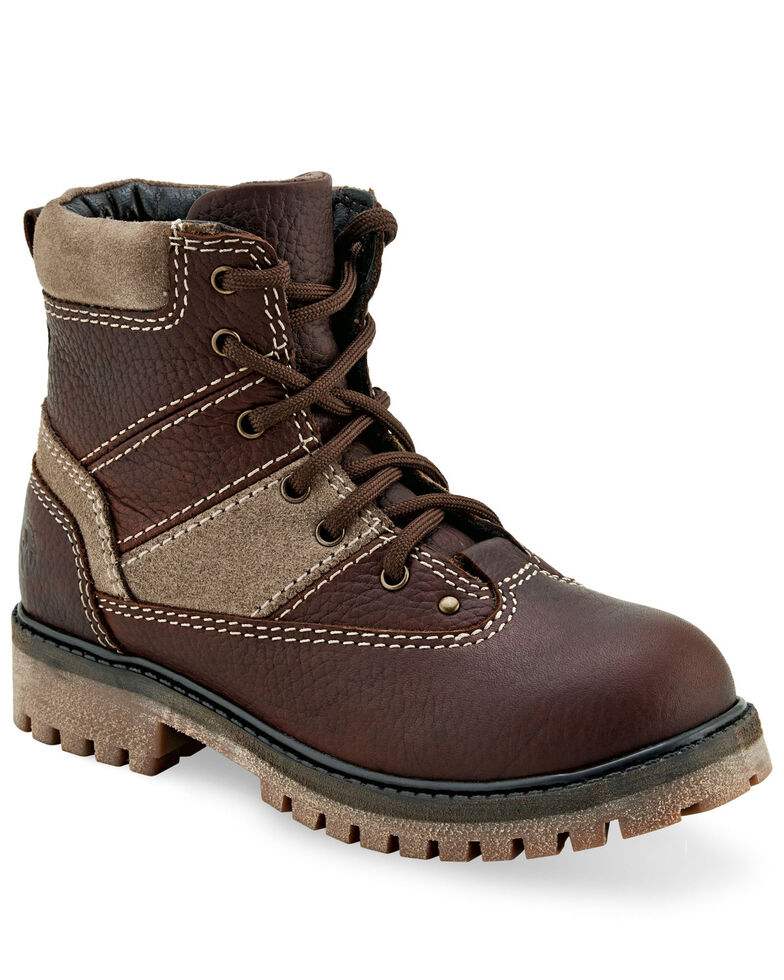 "Old West Boys' 4.5"" Brown Hiker Boots - Round Toe, Rust Copper, hi-res"