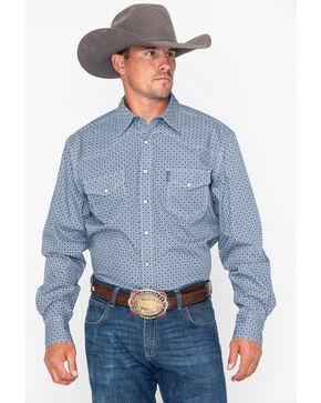 Cinch Men's Teal Modern Fit Circle Print Shirt , Teal, hi-res