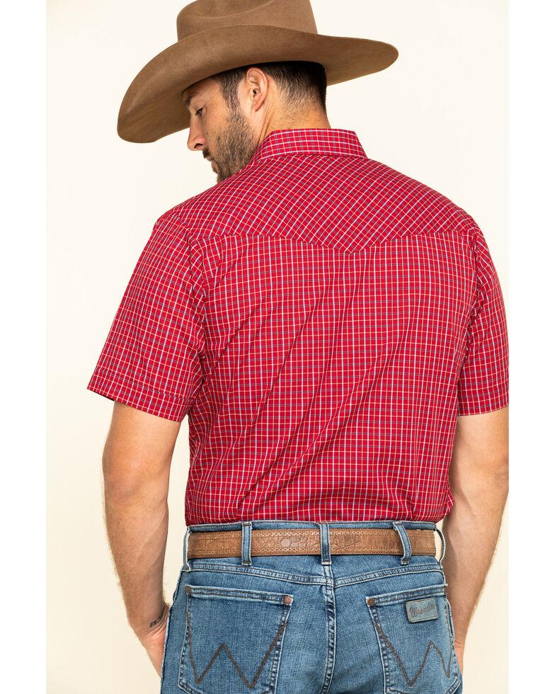 Ely Cattleman Men's Burgundy Mini Check Plaid Short Sleeve Western Shirt - Tall, Burgundy, hi-res