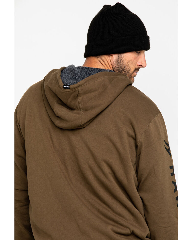 Hawx Men's Olive Sherpa Lined Full Zip Hooded Work Jacket , Olive, hi-res