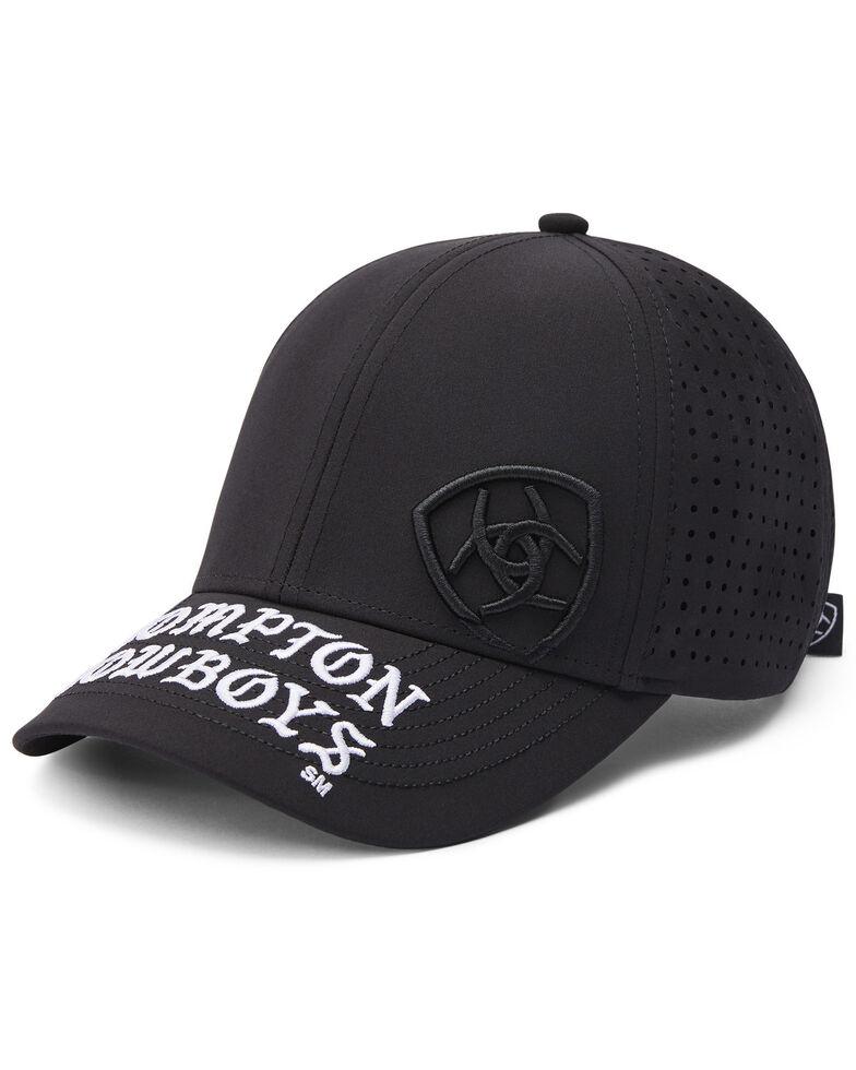 Ariat Men's Black Compton Cowboy Logo Mesh Back Cap, Black, hi-res